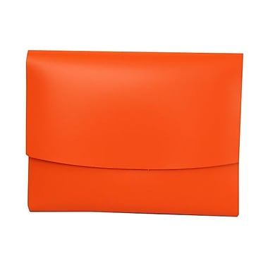 JAM PaperMD – Porte-documents en cuir italien avec fermeture à bouton pression, 25 1/2 x 13 x 3/4 po, orange