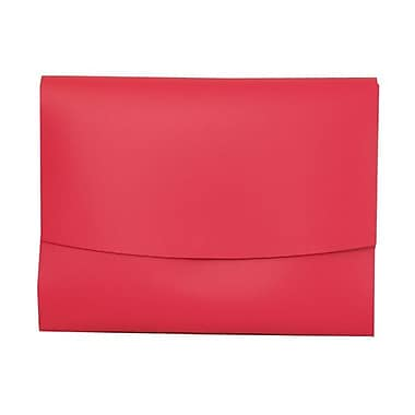 JAM Paper® Italian Leather Portfolio With Snap Closure, 10.5 x 13 x 0.75, Fuchsia Pink, 12/Pack (2233320839B)