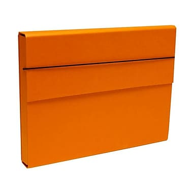JAM Paper MD – Porte-document robuste en carton renforcé, fermeture à élastique, 10 x 13 1/4 x 1 1/4 po, orange, paquet de 2