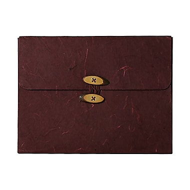 JAM Paper® Kraft Chipboard Rainforest Portfolio, Button and String Tie Closure, 9 x 11.75 x.63, Burgundy, 2/Pack (371679g)