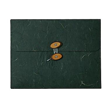 JAM Paper® Kraft Chipboard Rainforest Portfolio, Button and String Tie Closure, 9 x 11.75 x 5/8, Green, 2/pack (371678g)
