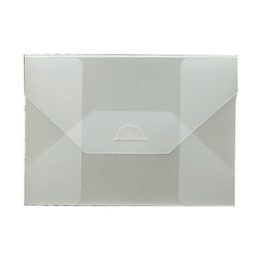 JAM Paper® Plastic Portfolio with Tuck Flap Closure, Medium, 5.5 x 7.5 x 0.25, Clear Frost, Sold Individually (1920 009)