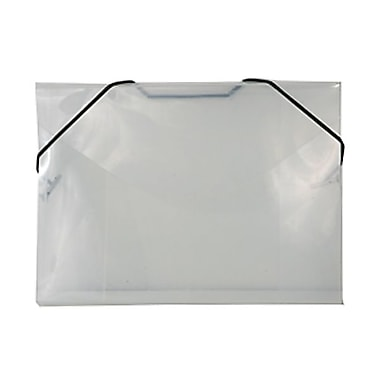 JAM Paper® Plastic Index Case Portfolio with Elastic Closure, 5 1/2 x 7 1/2 x 3/8, Clear, 100/pack (32168403C)
