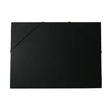 JAM Paper® Kraft Chipboard Portfolio, Elastic Closure, Jumbo, 14.5 x 19.5 x 0.5, Black Kraft, 2/Pack (6103 202g)