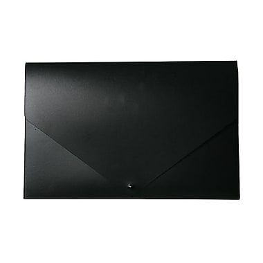 JAM Paper® Plastic Portfolio with Snap Closure, Large, 11 x 17 x 0.75, Black, 2/Pack (2254027g)