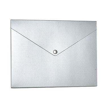 JAM Paper MD – Porte-document moyen en plastique à pois, bouton pression, 9 1/4 x 12 1/4 x 1/2 po, argenté kraft, paquet de 2