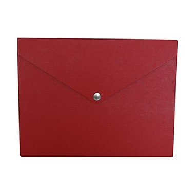 JAM Paper® Plastic Portfolio with Snap Closure, Medium, 9.25 x 12.25 x 0.5, Red, 2/Pack (9037279g)