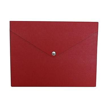 JAM Paper MD – Porte-document en plastique format moyen, bouton pression, 9 1/4 x 12 1/4 x 1/2 po, rouge, paquet de 2