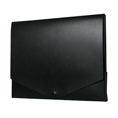 JAM Paper® Plastic Portfolio with Snap Closure, Medium, 10 x 12.5 x 0.75, Black, 2/Pack (2000027g)