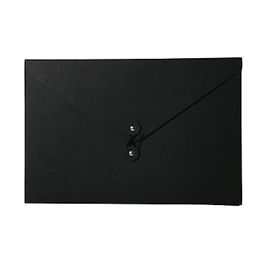 JAM Paper® Kraft Chipboard Portfolio, Button and String Tie Closure, Large, 9.25 x 14 x.38, Black Kraft, 2/Pack (2008 2002g)