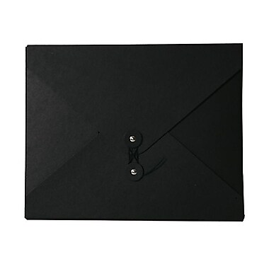 JAM Paper® Kraft Chipboard Portfolio, Button and String Tie Closure, Medium, 9.5 x 12 x 0.25, Black Kraft, 1/pk (2011 202)