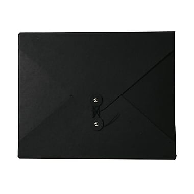 JAM Paper® Kraft Chipboard Portfolio, Button and String Tie Closure, Medium, 9.5 x 12 x 0.25, Black Kraft, 2/Pack (2011 202g)