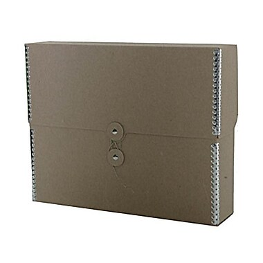 JAM Paper® Kraft Chipboard Portfolio, Button and String Tie Closure, 9.5 x 12 x 2.75, Recycled Brown Kraft, 2/Pack (3536847g)
