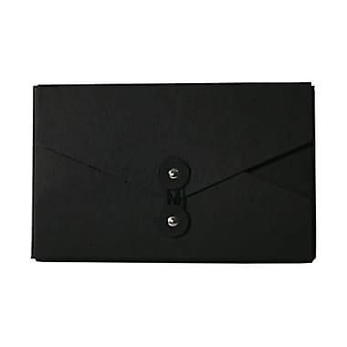 JAM Paper® Kraft Chipboard Portfolio, Button and String Tie Closure, 5.5 x 8.5 x 1, Black, Sold Individually (3036BLACK)