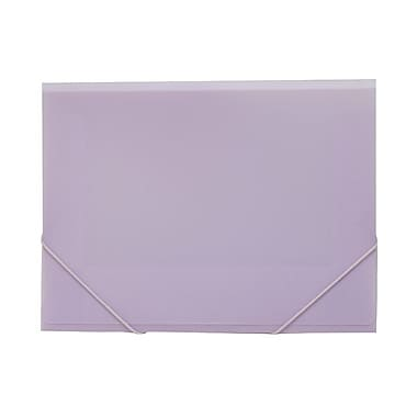 JAM Paper® Plastic Paper Holder Action Case, Elastic Closure, Letter 9.5 x 12.38, Light Purple, 4/Pack (33214719g)