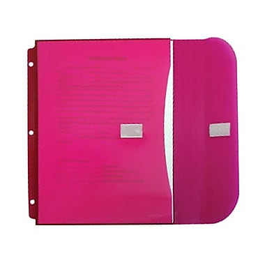 JAM Paper® Plastic 3 Hole Punch Binder Envelopes, VELCRO® Closure, 1 Expansion, 8.6 x 11.5, Fuchsia Pink, 12/pack (218VB1PI)