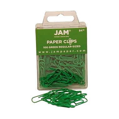 JAM Paper® Regular Colored Paper Clips, Green, 100/Box