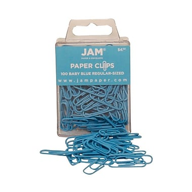JAM Paper® Regular Colored Paper Clips, Baby Blue, 100/Box