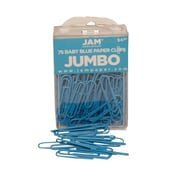 JAM Paper® Jumbo Colored Paper Clips, Baby Blue, 75/Pack