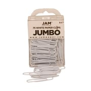 JAM Paper® Jumbo Colored Paper Clips, White, 75/Pack