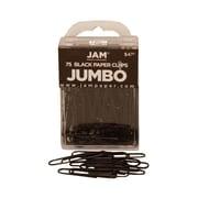 JAM Paper® Jumbo Colored Paper Clips, Black, 75/Pack