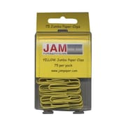 JAM Paper® Jumbo Colored Paper Clips, Yellow, 75/Pack
