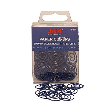 JAM Paper® Circular Colored Paper Clips, Dark Blue, 50/Box