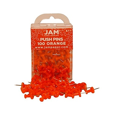JAM Paper® Metal Push Pins, Orange, 100/Pack