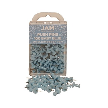 JAM Paper® Metal Push Pins, Baby Blue, 100/Pack