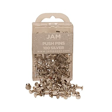 JAM Paper® Metal Push Pins, Shiny Silver, 100/Pack