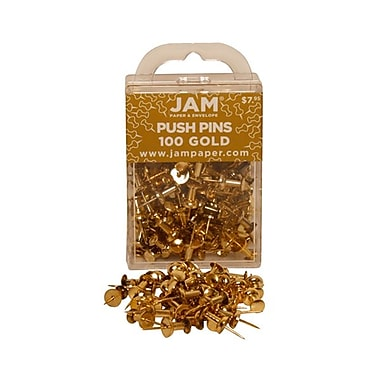 JAM Paper® Metal Push Pins, Shiny Gold, 100/Pack