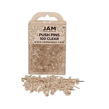 JAM Paper® Metal Push Pins, Clear, 100/Pack