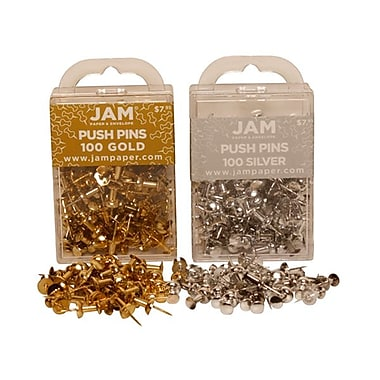 JAM Paper® Metal Push Pins, Gold Silver, 2/Pack
