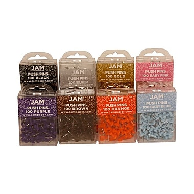 JAM Paper® Metal Premium Push Pins, Assorted, Set of 8