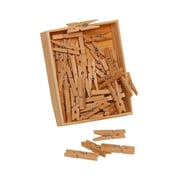 "JAM Paper® 50/Pack 1 1/8"" Mini Wood Clothing Pin Clips"