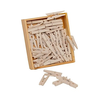 JAM Paper® Wood Clothing Pin Clips, Medium 1 1/8, White, 50/pack (2230719109)