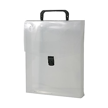 JAM Paper® Plastic Vertical Magazine Style Briefcase, 9.25 x 12 x 2.5, Clear/Black, Sold Individually (7216 001)