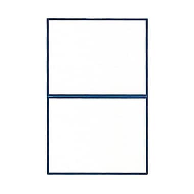 JAM Paper® Blank Foldover Cards, A2 size, 4 3/8 x 5 7/16, White Linen with Blue Foil Trim, 100/pack (3096293)