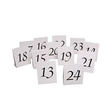 JAM Paper® Table Number Tent Cards, White and Black #13- #24, 12/pack (2226016897)