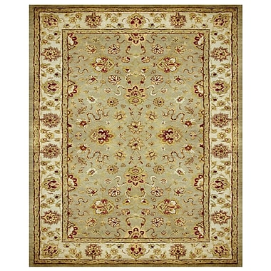 Feizy® Abbey Blended Pile and Fine Wool Border Rug, 8' x 11', Sage/Ivory