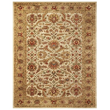 Feizy® Abbey Blended Pile and Fine Wool Border Rug, 8' x 11', Ivory/Light Gold