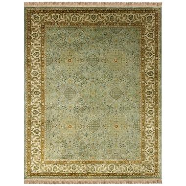 Feizy® Alegra Wool Pile Border Rug, 5' x 8', Ocean/Beige