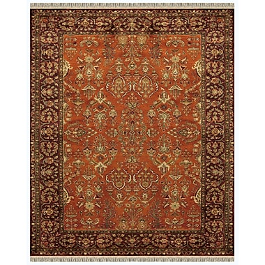 Feizy® Amore™ Wool Pile Traditional Rug, 5' x 8', Cinnamon/Plum