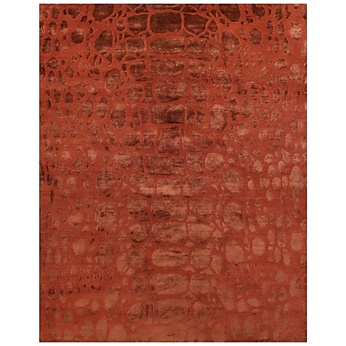 Feizy® Radiance Wool and Art Silk Pile Transitional Rug, 4' x 6', Ruby