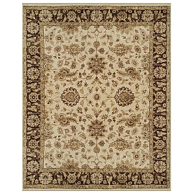 Feizy® Dover Wool Pile Border Rug, 4' x 6', Ivory/Brown