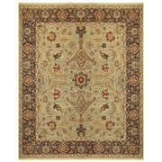 """Feizy® Ihrin Pure Wool Pile Border Rug, 5'6"""" x 8'6"""", Gold/Brown"""