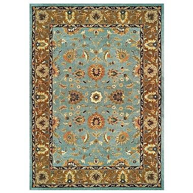 Feizy® Makenzie Pure Wool Pile Border Rug, 8' x 11', Light Blue/Brown