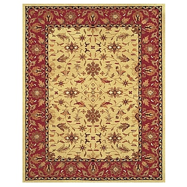 Feizy® Makenzie Pure Wool Pile Border Rug, 5' x 8', Light Gold/Burgandy