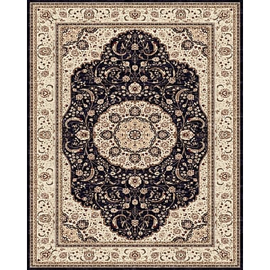 Feizy® Delia Polypropylene Fiber Pile Traditional Rug, 4' x 6', Navy/Cream
