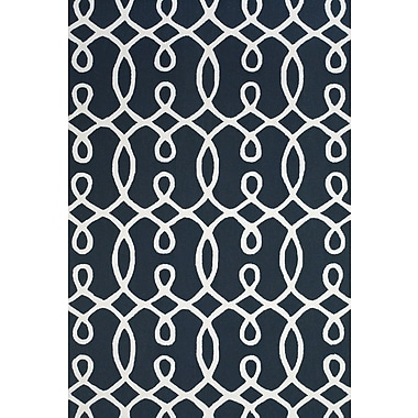 Feizy® Amalzari Pure Wool Pile Contemporary Rug, 5' x 8', Navy/White